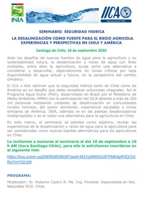 SEGURIDAD HÍDRICA LA DESALINIZACIÓN COMO FUENTE PARA EL RIEGO AGRÍCOLA. EXPERIENCIAS Y PERSPECTIVAS EN CHILE Y AMÉRICA.